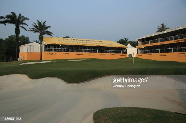 A general view of the 18th green during the Pro Am event prior to the start of the Maybank Championship at the Saujana Golf Country Club Palm Course...