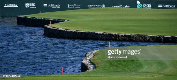 General view of the 18th green during the pro-am event prior to Saudi International at Royal Greens Golf and Country Club on January 29, 2020 in King...