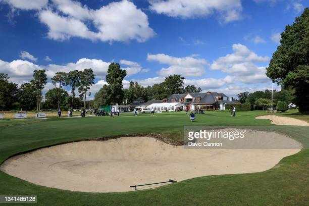 General view of the 18th green during the Rose Ladies Series at North Hants Golf Club on September 20, 2021 in Fleet, England.