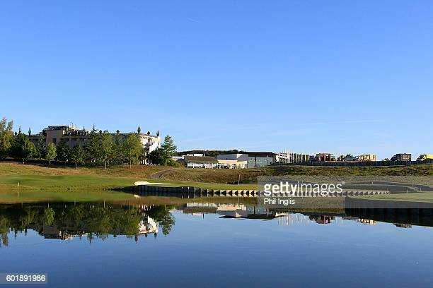 A general view of the 18th green during the second round of the Paris Legends Championship played on L'Albatros Course at Le Golf National on...