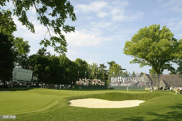 General view of the 18th green during the second round of the Senior PGA Championship at the Aronimink Golf Club on June 6, 2003 in Newtown Square,...