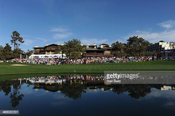 A general view of the 18th green during the third round of the Farmers Insurance Open on Torrey Pines South on January 25 2014 in La Jolla California
