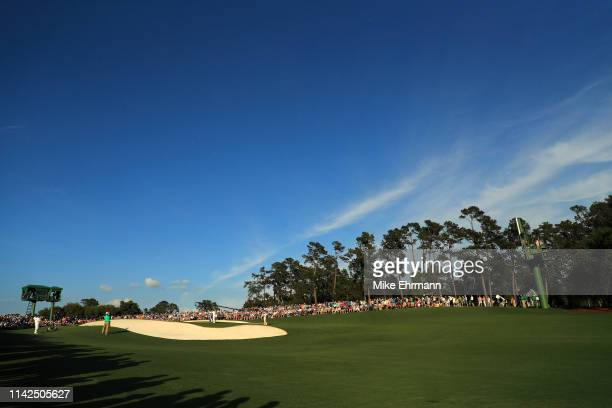 A general view of the 18th green during the third round of the Masters at Augusta National Golf Club on April 13 2019 in Augusta Georgia