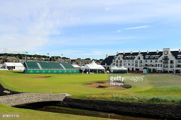 A general view of the 18th green during the third round of the Senior Open Championship played at Carnoustie on July 23 2016 in Carnoustie United...