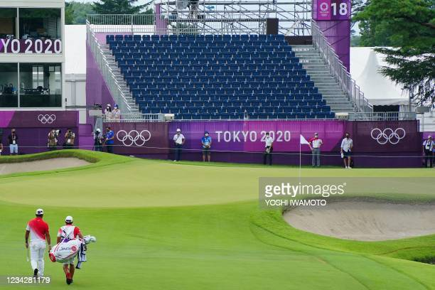 General view of the 18th green in round 1 of the mens golf individual stroke play during the Tokyo 2020 Olympic Games at the Kasumigaseki Country...