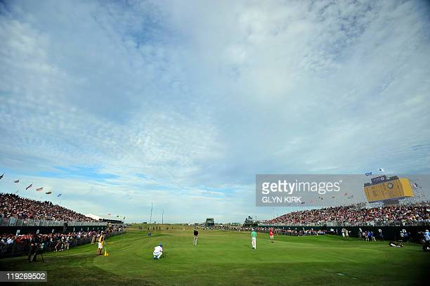General view of the 18th green is pictured on the second day of the 140th British Open Golf championship at Royal St George's in Sandwich, Kent,...