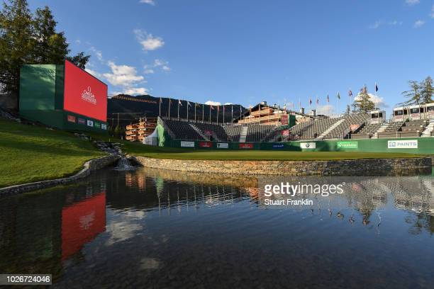A general view of the 18th green prior to the start of Omega European Masters at CranssurSierre Golf Club on September 4 2018 in CransMontana...