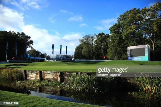 General view of the 18th green scoreboard ahead of the BMW PGA Championship at Wentworth Golf Club on October 06, 2020 in Virginia Water, England.