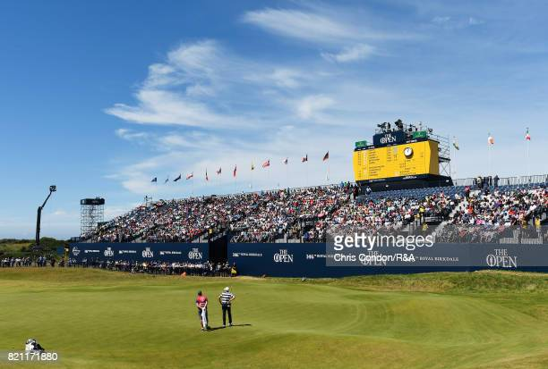 A general view of the 18th green with grandstand during the final round of the 146th Open Championship at Royal Birkdale on July 23 2017 in Southport...