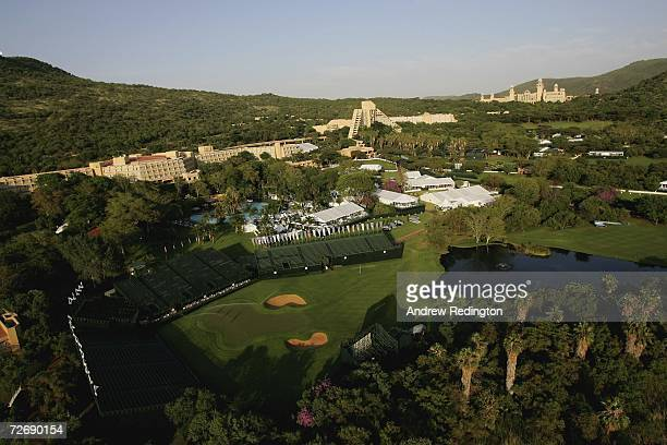 A general view of the 18th green with The Sun City Hotel Cascades hotel and Palace Hotel behind prior to the start of the second round of The Nedbank...