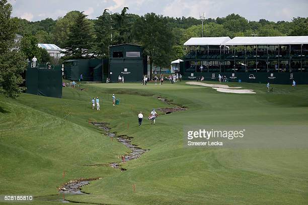 A general view of the 18th hole ahead of the 2016 Wells Fargo Championship at Quail Hollow Club on May 11 2016 in Charlotte North Carolina