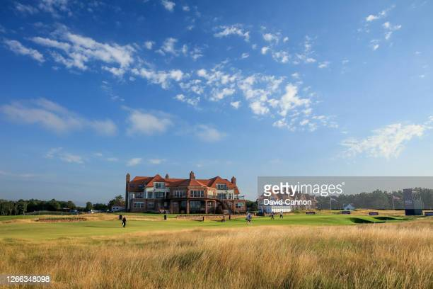General view of the 18th hole and clubhouse during the second round of the Aberdeen Standard Investments Ladies Scottish Open at The Renaissance Club...