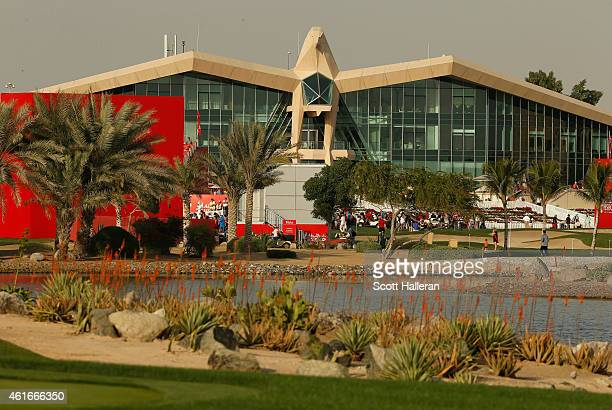 A general view of the 18th hole and clubhouse during the third round of the Abu Dhabi HSBC Golf Championship at the Abu Dhabi Golf Cub on January 17...
