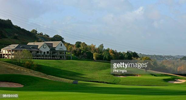 A general view of the 18th hole and clubhouse of the Celtic Manor Golf Course on October 252009 in Newport Gwent South Wales The course will be the...