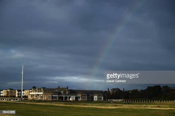 General view of the 18th hole and clubhouse on a stormy evening taken during a photoshoot held on October 10 2003 at the Royal Troon Golf Club venue...