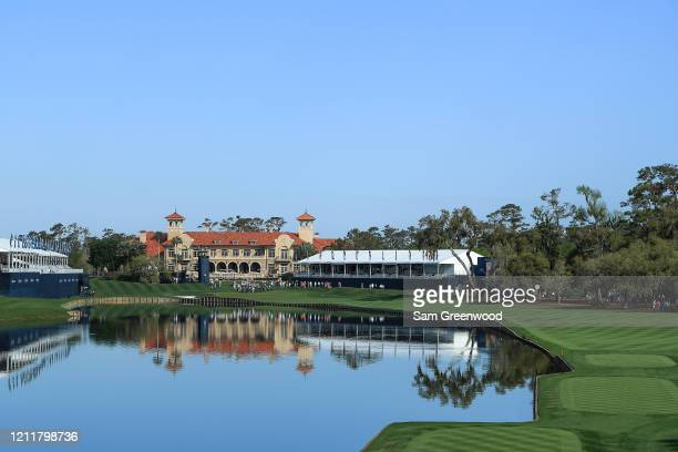A general view of the 18th hole and the clubhouse are seen during a practice round prior to The PLAYERS Championship on The Stadium Course at TPC...