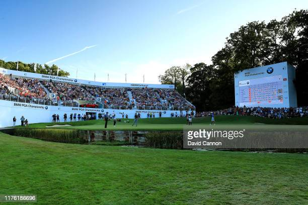 General view of the 18th hole as Jon Rahm of Spain makes a birdie during Day Three of the BMW PGA Championship at Wentworth Golf Club on September...