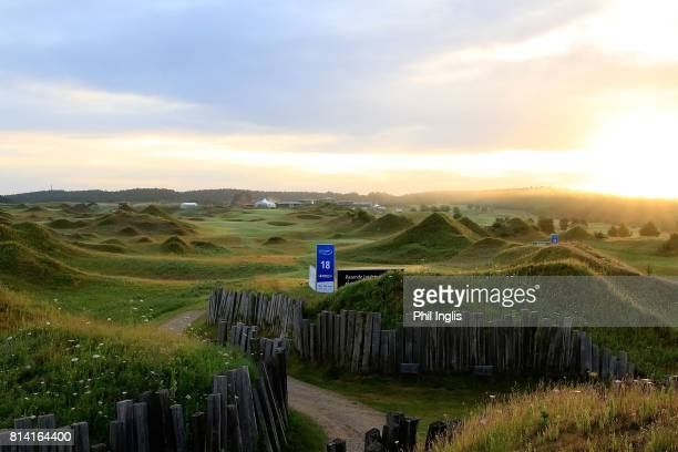 General view of the 18th hole at daybreak during the first round of the WinstonGolf Senior Open played on the Links Course, WinstonGolf on July 14,...