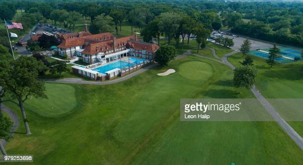 General view of the 18th hole at the Detroit Golf Club North Course on June 18, 2018 in Detroit, Michigan.