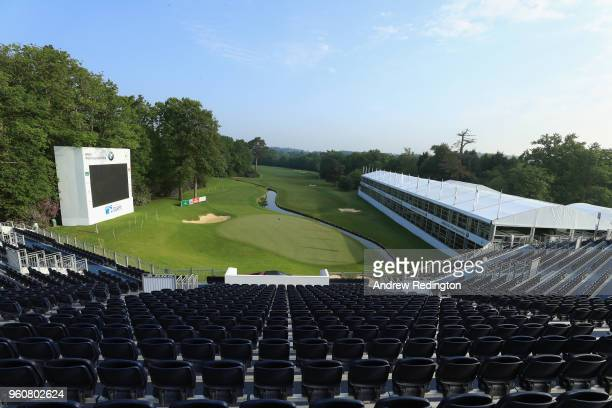 General view of the 18th hole during practice for the BMW PGA Championship at Wentworth on May 21, 2018 in Virginia Water, England.