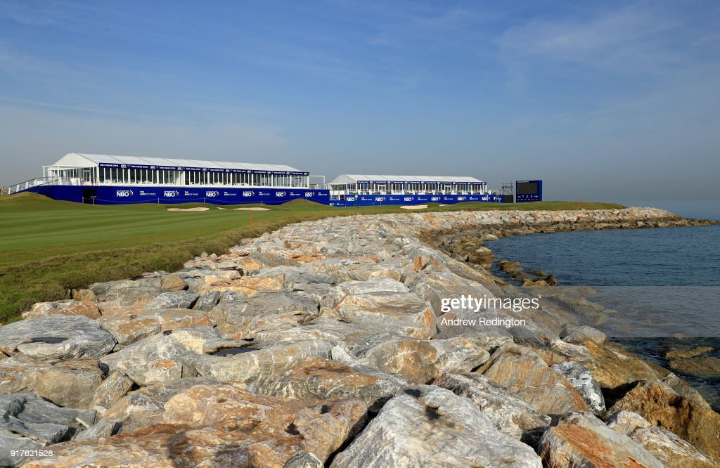 A general view of the 18th hole during practice for the NBO Oman Golf Classic at Al Mouj Golf on February 13, 2018 in Muscat, Oman.