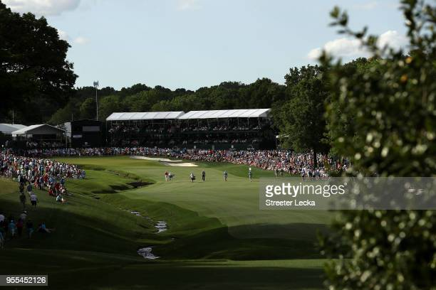 General view of the 18th hole during the final round of the 2018 Wells Fargo Championship at Quail Hollow Club on May 6, 2018 in Charlotte, North...