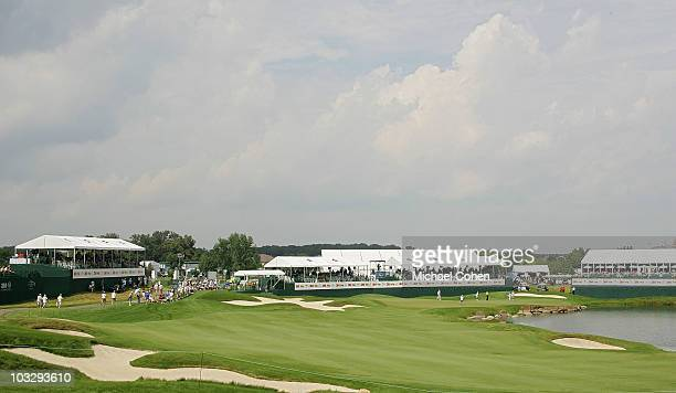 A general view of the 18th hole during the final round of the 3M Championship at TPC Twin Cities held on August 8 2010 in Blaine Minnesota