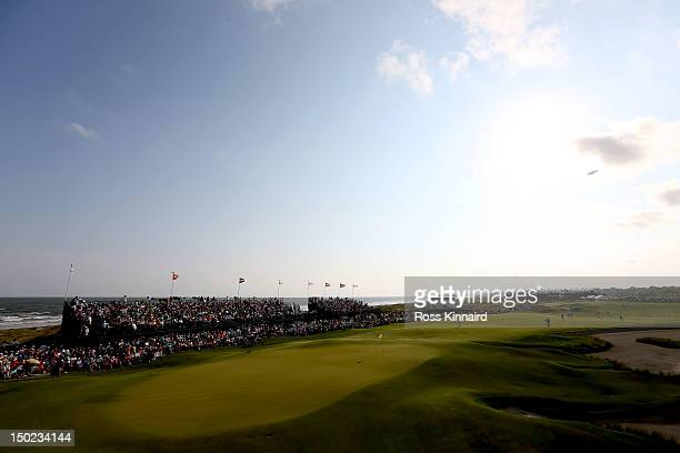 General view of the 18th hole during the Final Round of the 94th PGA Championship at the Ocean Course on August 12, 2012 in Kiawah Island, South...