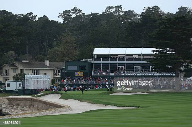 A general view of the 18th hole during the final round of the ATT Pebble Beach National ProAm at the Pebble Beach Golf Links on February 9 2014 in...