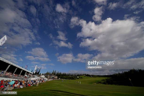 General view of the 18th hole during the final round of the Sentry Tournament of Champions at the Plantation Course at Kapalua Golf Club on January...