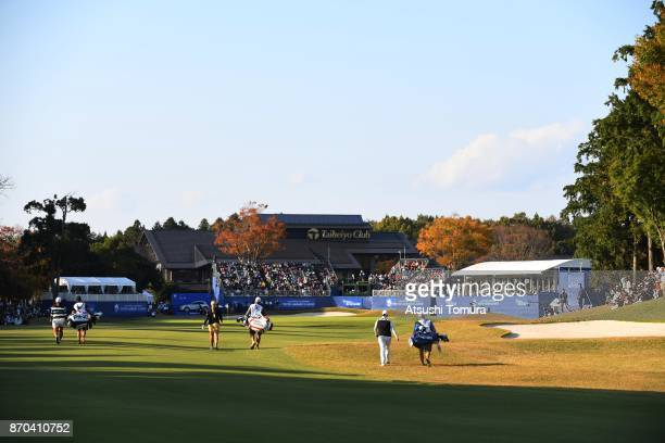 A general view of the 18th hole during the final round of the TOTO Japan Classics 2017 at the Taiheiyo Club Minori Course on November 5 2017 in...