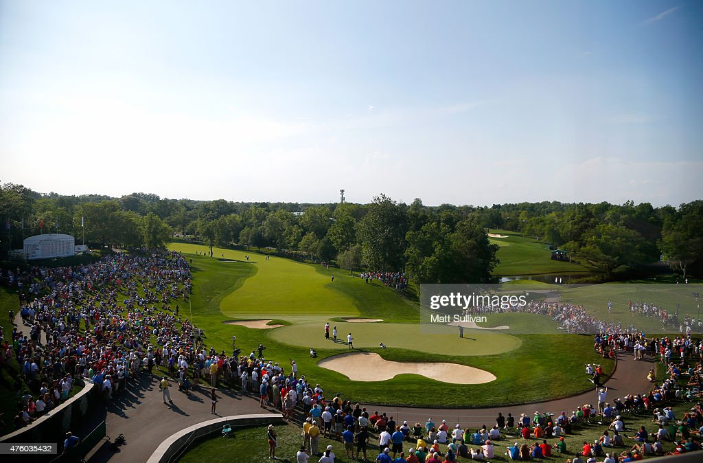 General view of the 18th hole during the second round of The Memorial Tournament presented by Nationwide at Muirfield Village Golf Club on June 5, 2015 in Dublin, Ohio.