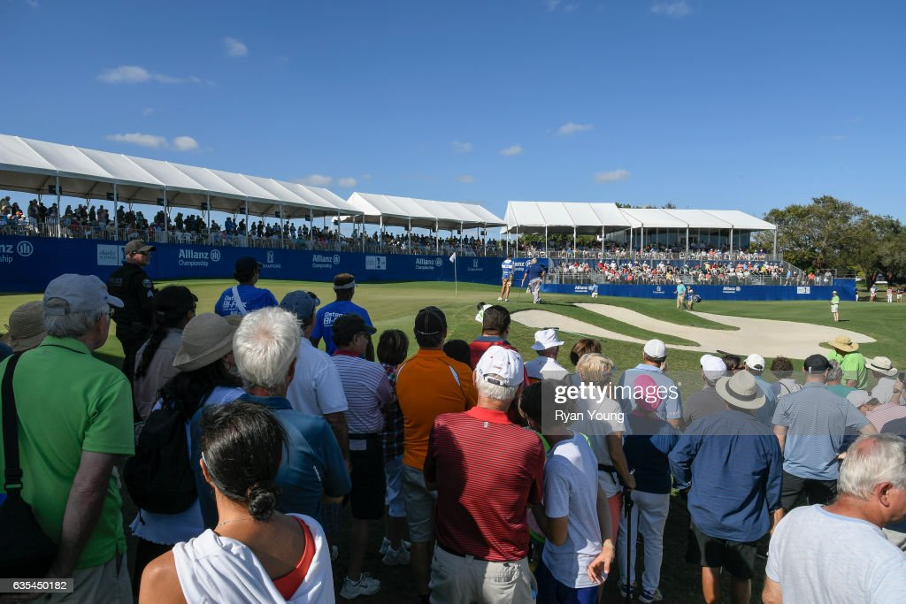 A general view of the 18th hole during the second round of the PGA TOUR Champions Allianz Championship at The Old Course at Broken Sound on February 11, 2017 in Boca Raton, Florida.