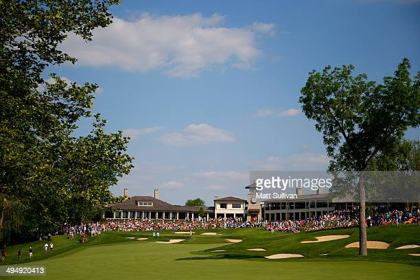 General view of the 18th hole during the third round of the Memorial Tournament presented by Nationwide Insurance at Muirfield Village Golf Club on...