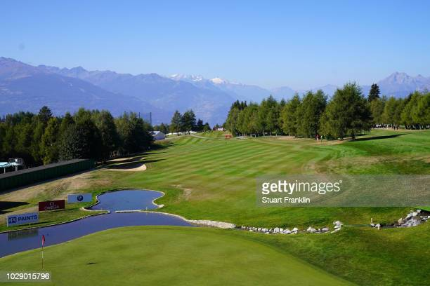 A general view of the 18th hole during the third round of The Omega European Masters at CranssurSierre Golf Club on September 8 2018 in CransMontana...