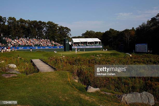 General view of the 18th hole green during the second round of the Deutsche Bank Championship at TPC Boston on September 3, 2011 in Norton,...