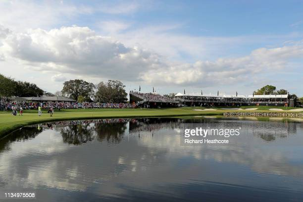 A general view of the 18th hole is seen during the final round of the Arnold Palmer Invitational Presented by Mastercard at the Bay Hill Club on...
