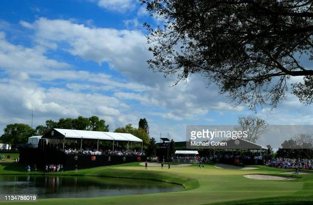 A general view of the 18th hole is seen during the third round of the Arnold Palmer Invitational Presented by Mastercard at the Bay Hill Club on...