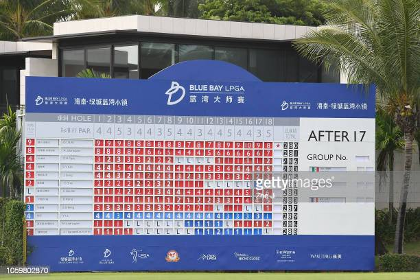 A general view of the 18th hole leaderboard during the Blue Bay LPGA on November 10 2018 in Hainan Island China