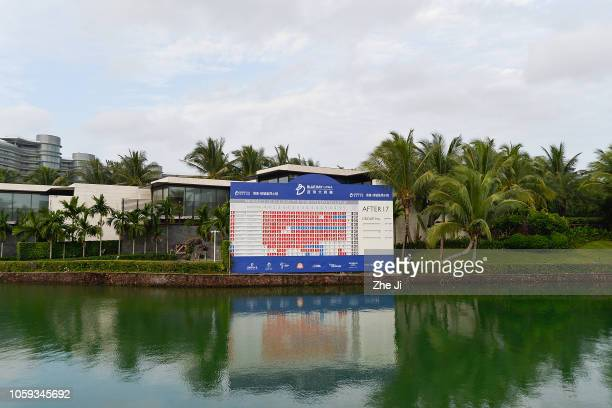 A general view of the 18th hole leaderboard during the third round of the Blue Bay LPGA on November 9 2018 in Hainan Island China
