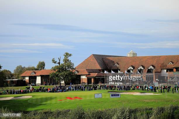 A general view of the 18th hole on Day Three of the Farmfoods European Senior Masters at Forest Of Arden Marriott Hotel Country Club on October 7...