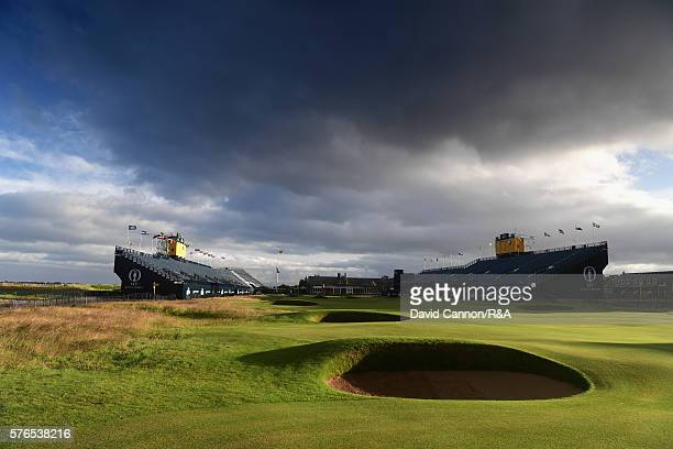 General View of the 18th hole prior tothe start of the third round on day three of the 145th Open Championship at Royal Troon on July 16 2016 in...