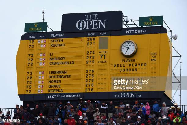 A general view of the 18th hole scoreboard during the final round of the 146th Open Championship at Royal Birkdale on July 23 2017 in Southport...