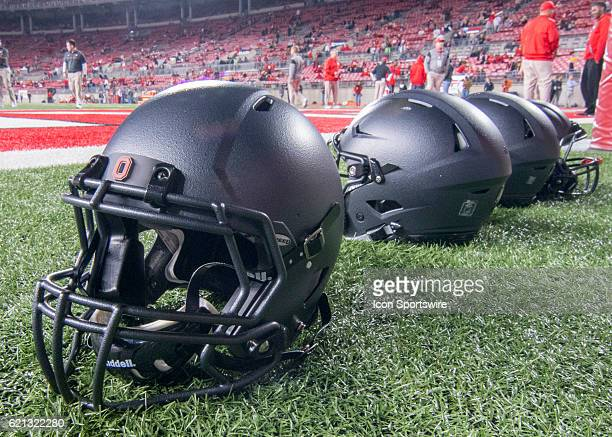 General view of the 1916 throwbacks cannonballlike helmets the Ohio State Buckeyes wore for the game against the Nebraska Cornhuskers on November 5...