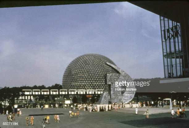 General view of the 1967 Expo fairgrounds in Montreal Canada 1967 To the right is the Soviet pavilion with its large hammer and sickle sculpture in...
