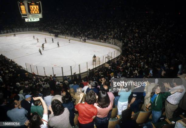 General view of the 1980 Semi Finals between the Buffalo Sabres and the New York Islanders in May, 1980 at the Nassau Coliseum in Uniondale, New York.