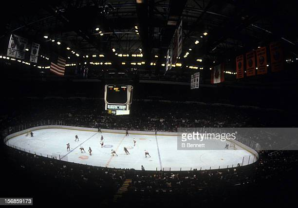 General view of the 1983 Division Finals between the New York Rangers and the New York Islanders in April 1983 at the Nassau Coliseum in Uniondale...