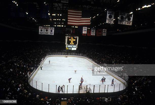General view of the 1983 Division Finals between the New York Rangers and the New York Islanders in April, 1983 at the Nassau Coliseum in Uniondale,...