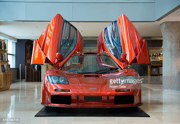 General view of the 1998 McLaren F1 'LMSpecification' supercar during McLaren's F1 New York media preview at Sotheby's on June 3 2015 in New York City