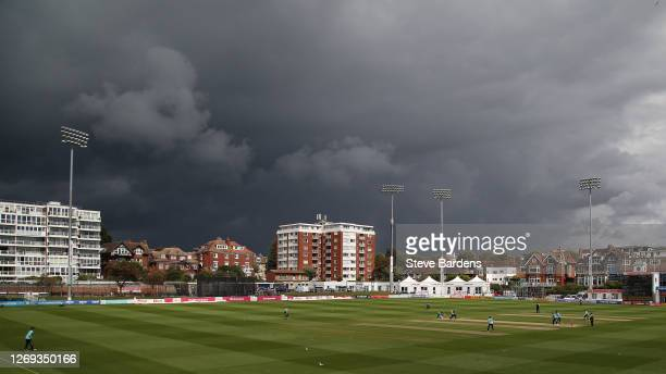 General view of The 1st Central County Ground as rain clouds roll in during the T20 Blast match between Sussex Sharks and Surrey at The 1st Central...
